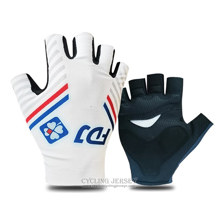 2021 Groupama-FDJ Gloves Cycling White