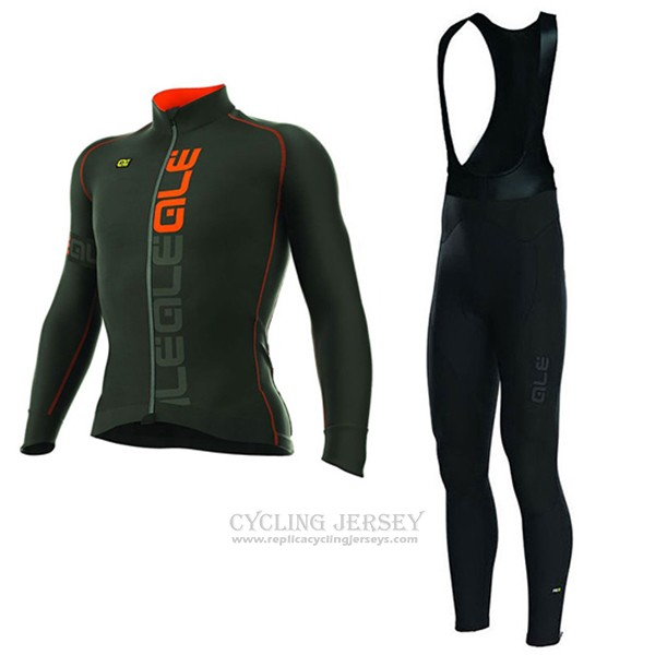 2017 Cycling Jersey ALE 3 Season Black and Orange Long Sleeve and Bib Tight