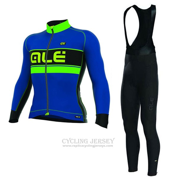 2017 Cycling Jersey ALE Bering Blue and Green Long Sleeve and Bib Tight