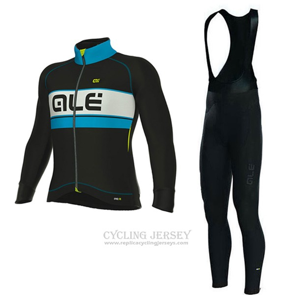 2017 Cycling Jersey ALE Bering Light Blue and Black Long Sleeve and Bib Tight