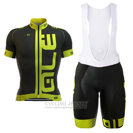 2017 Cycling Jersey ALE Black and Green Short Sleeve and Bib Short