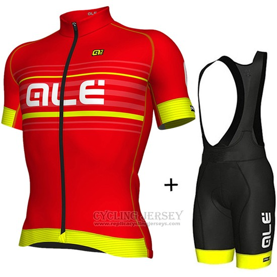 2018 Cycling Jersey ALE Red and Yellow Short Sleeve and Bib Short