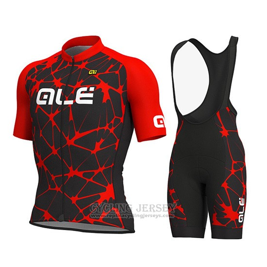 2019 Cycling Jersey ALE Red Short Sleeve and Overalls