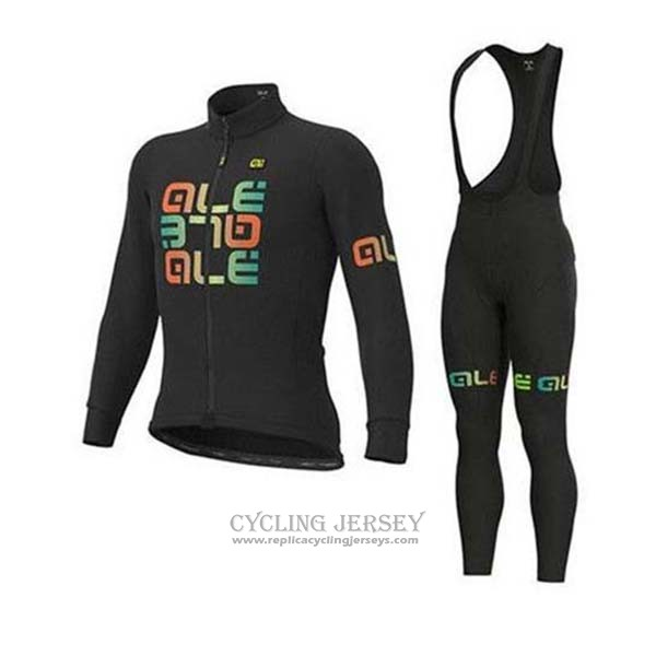 2020 Cycling Jersey Ale Black Green Long Sleeve And Bib Tight