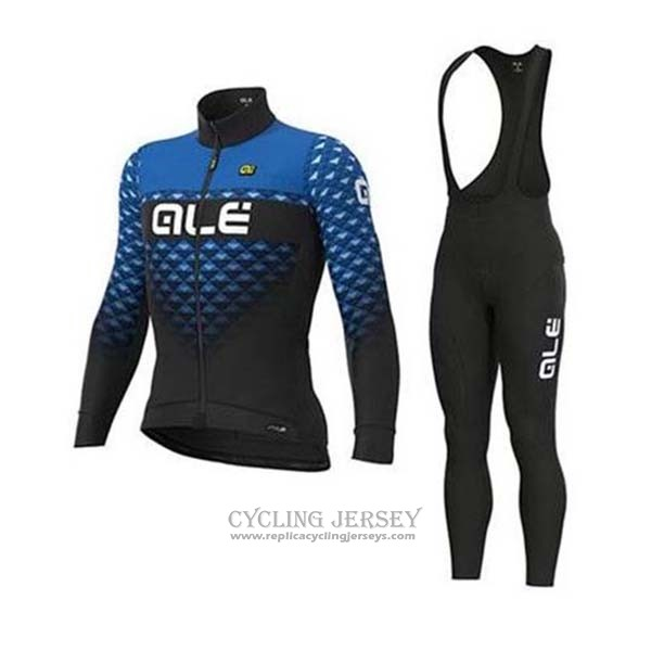 2020 Cycling Jersey Ale Blue Black Long Sleeve And Bib Tight