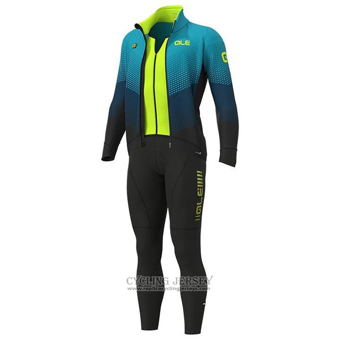 2020 Cycling Jersey Ale Light Blue Yellow Long Sleeve And Bib Tight