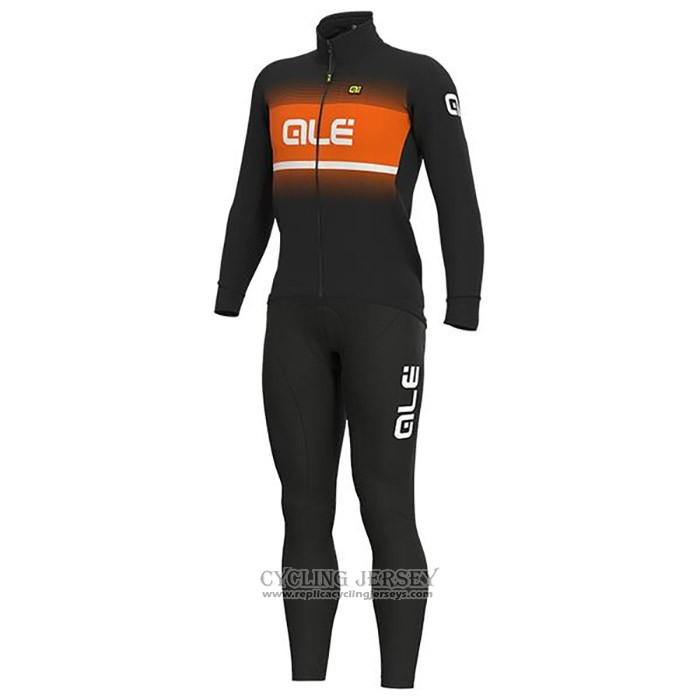 2020 Cycling Jersey Ale Orange Black Long Sleeve And Bib Tight