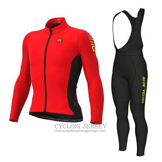 2020 Cycling Jersey Ale Red Black Long Sleeve And Bib Tight