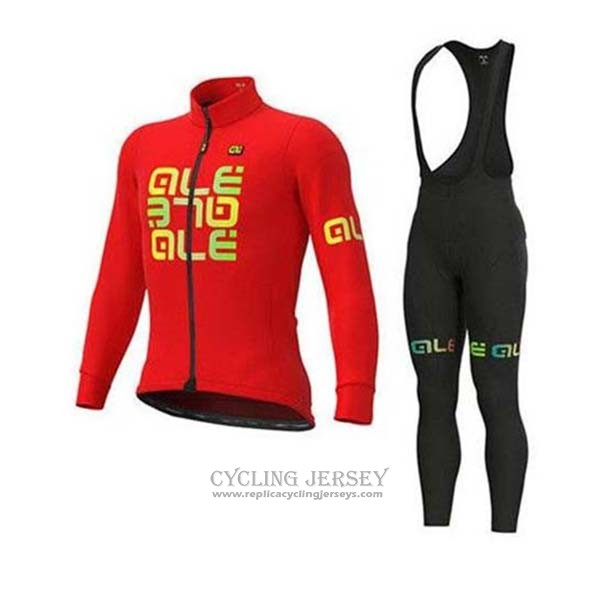 2020 Cycling Jersey Ale Red Yellow Long Sleeve And Bib Tight