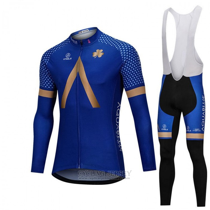 2018 Cycling Jersey Aqua Blue Sport Blue Long Sleeve and Bib Tight