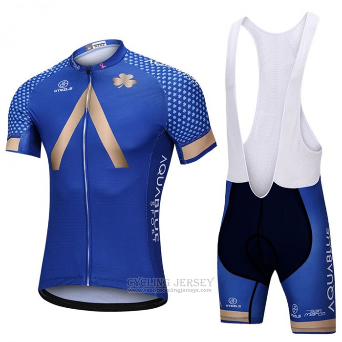 2018 Cycling Jersey Aqua Blue Sport Blue Short Sleeve and Bib Short