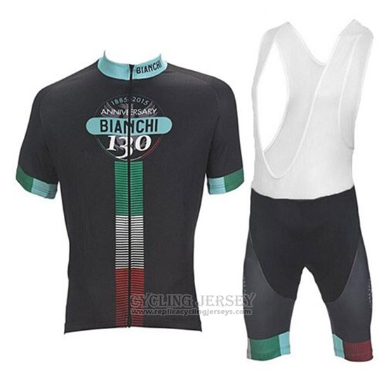 2017 Cycling Jersey Bianchi Black Short Sleeve and Bib Short