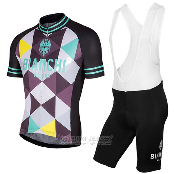 2017 Cycling Jersey Bianchi Milano Aviolo Black Short Sleeve and Bib Short