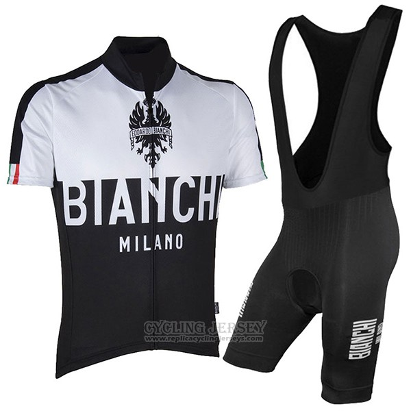 2017 Cycling Jersey Bianchi Milano Black Short Sleeve and Bib Short