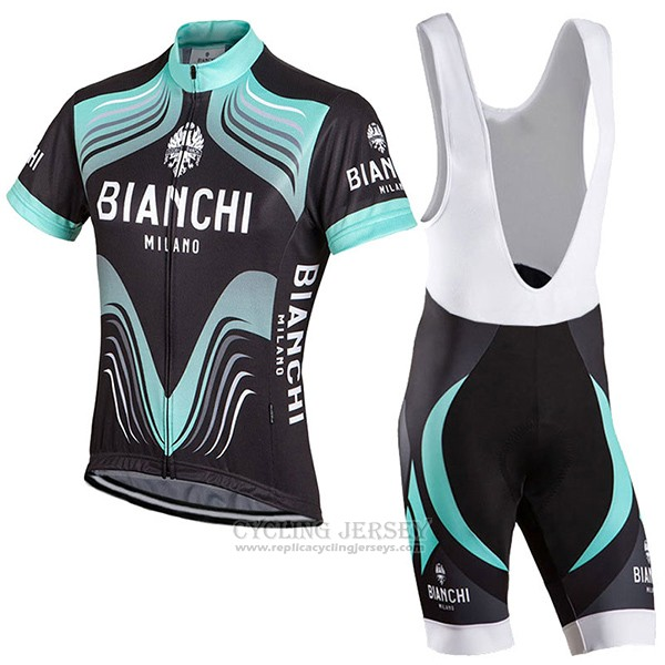 2017 Cycling Jersey Bianchi Milano Black and Green Short Sleeve and Bib Short