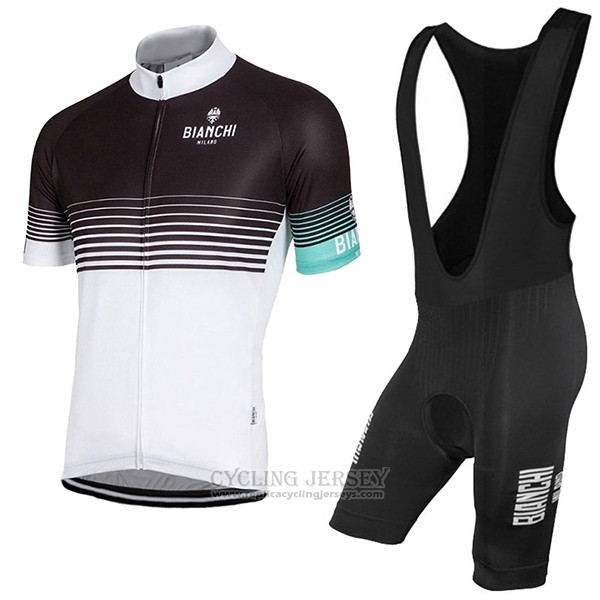 2017 Cycling Jersey Bianchi Milano Black and White Short Sleeve and Bib Short