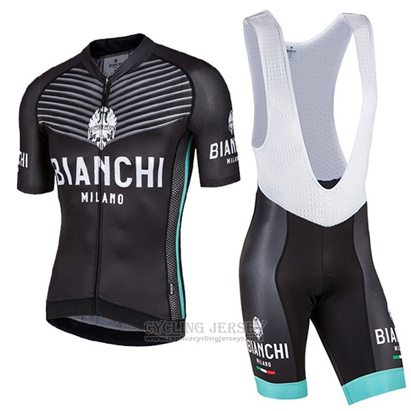 2017 Cycling Jersey Bianchi Milano Ceresole Black Short Sleeve and Bib Short