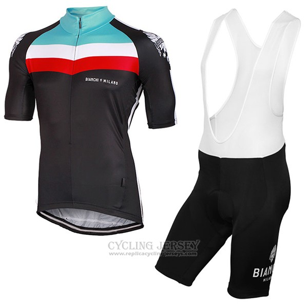 2017 Cycling Jersey Bianchi Milano Chorei Black Short Sleeve and Bib Short