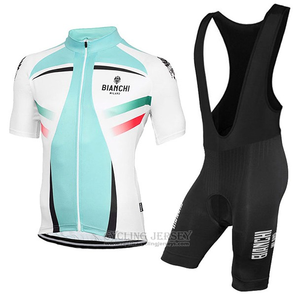2017 Cycling Jersey Bianchi Milano Green and White Short Sleeve and Bib Short