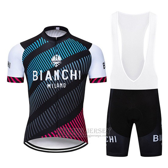 2019 Cycling Jersey Bianchi Blue Black Red Short Sleeve and Overalls