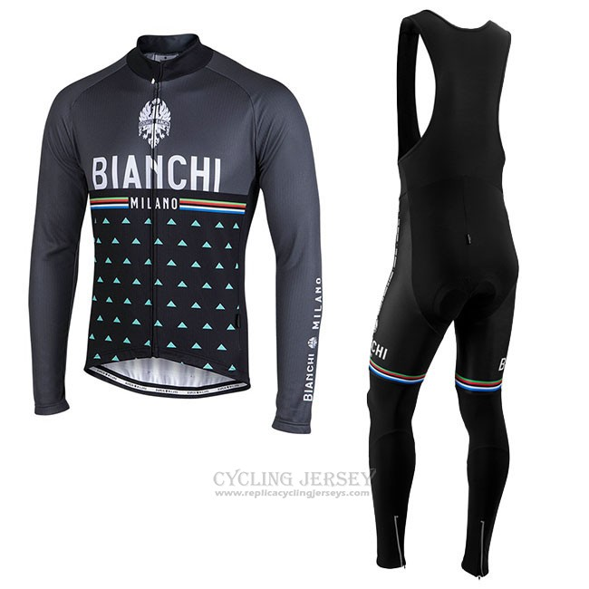 Cycling Jersey Bianchi Milano Nalles Black Long Sleeve and Bib Tight