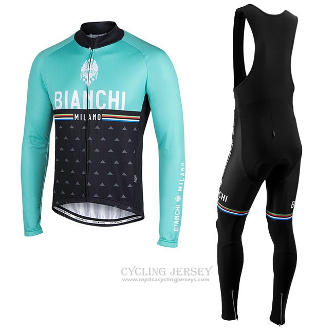 Cycling Jersey Bianchi Milano Nalles Light Blue Black Long Sleeve and Bib Tight