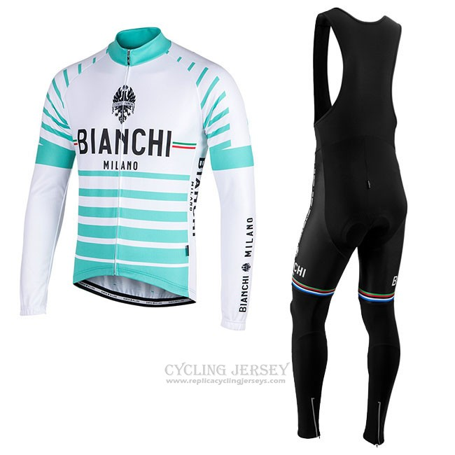 Cycling Jersey Bianchi Milano Nalles Light Blue White Long Sleeve and Bib Tight