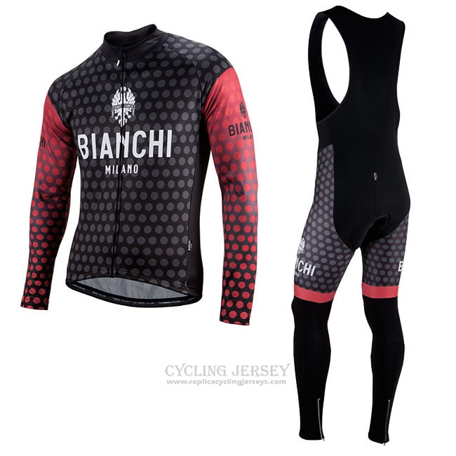 Cycling Jersey Bianchi Milano Petroso Black Red Long Sleeve and Bib Tight