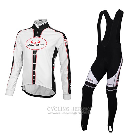 2016 Cycling Jersey Bobteam White Long Sleeve and Bib Tight