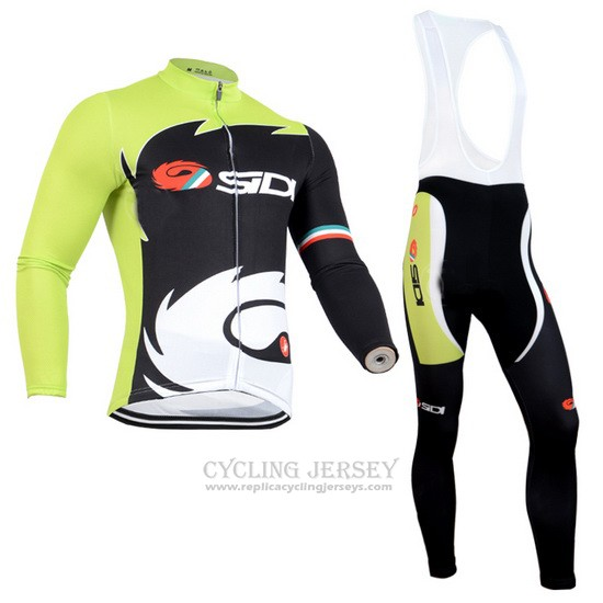2014 Cycling Jersey Castelli SIDI Black and Green Long Sleeve and Bib Tight