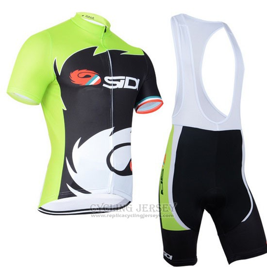 2014 Cycling Jersey Castelli SIDI Black and Green Short Sleeve and Bib Short