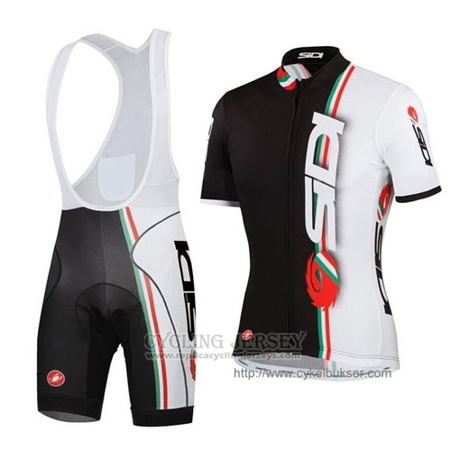 2014 Cycling Jersey Castelli SIDI White and Black Short Sleeve and Bib Short