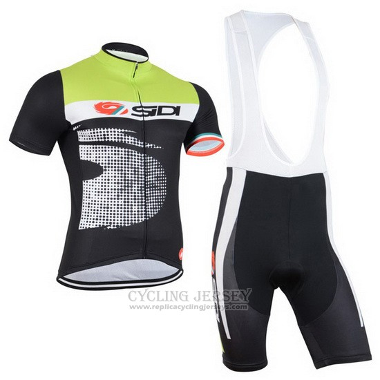 2015 Cycling Jersey Castelli SIDI Black and Green Short Sleeve and Bib Short