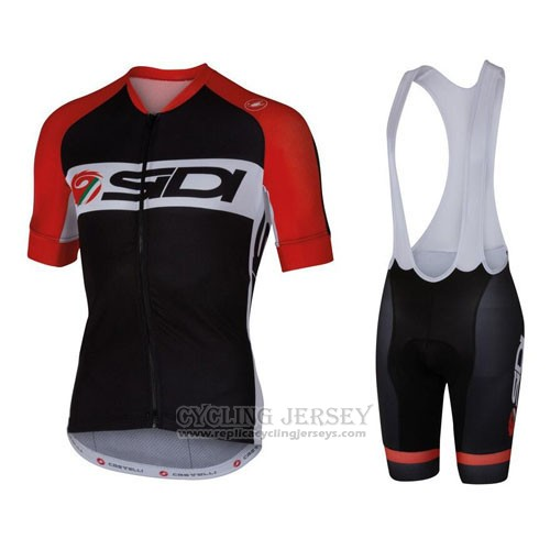 2016 Cycling Jersey Castelli SIDI Black and Red Short Sleeve and Bib Short