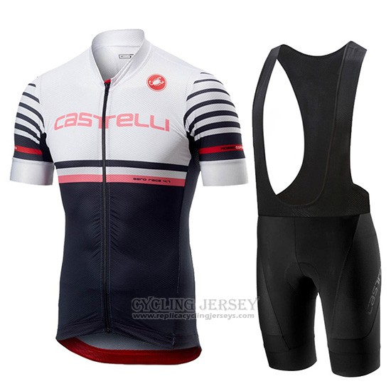 2019 Cycling Jersey Castelli Free Ar 4.1 White Black Short Sleeve and Overalls