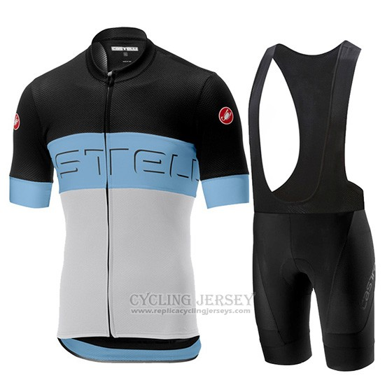 2019 Cycling Jersey Castelli Prologo 6 Black Sky Blue White Short Sleeve and Overalls