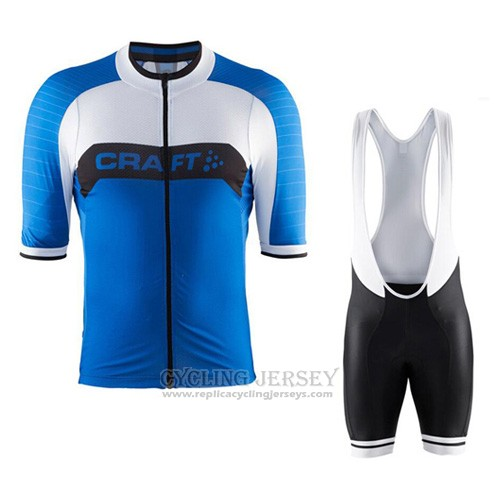 2016 Cycling Jersey Craft Blue and White Short Sleeve and Bib Short