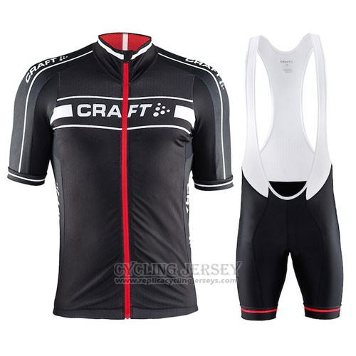 2016 Cycling Jersey Craft Red and Black Short Sleeve and Bib Short