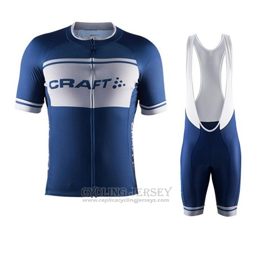 2016 Cycling Jersey Craft White and Blue Short Sleeve and Bib Short