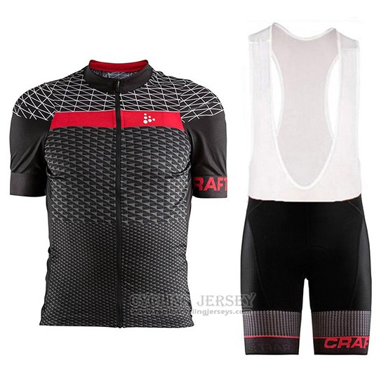 2018 Cycling Jersey Craft Route Black and Red Short Sleeve and Bib Short