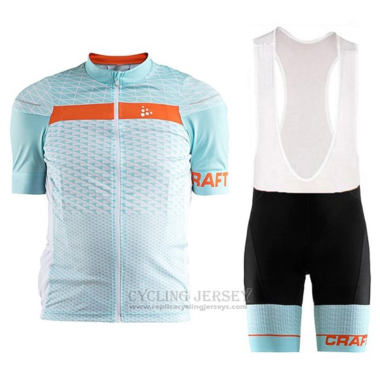 2018 Cycling Jersey Craft Route Light Blue Short Sleeve and Bib Short