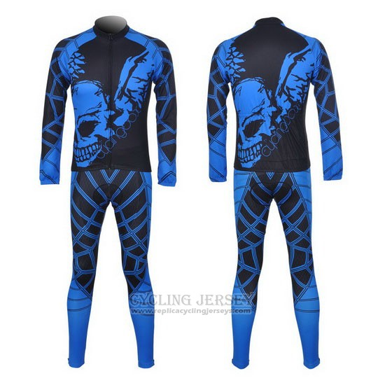 2014 Cycling Jersey Fox Cyclingbox Black and Blue Long Sleeve and Bib Tight