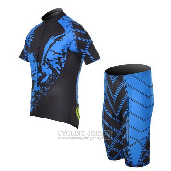 2014 Cycling Jersey Fox Cyclingbox Black and Blue Short Sleeve and Bib Short