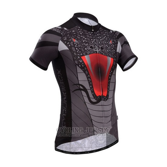 2014 Cycling Jersey Fox Cyclingbox Black and Gray Short Sleeve and Bib Short