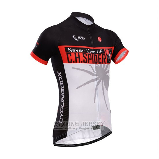 2014 Cycling Jersey Fox Cyclingbox Black and Light White Short Sleeve and Bib Short