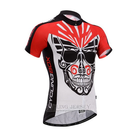 2014 Cycling Jersey Fox Cyclingbox Black and Red Short Sleeve and Bib Short