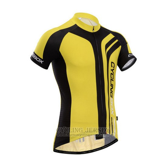 2014 Cycling Jersey Fox Cyclingbox Black and Yellow Short Sleeve and Bib Short