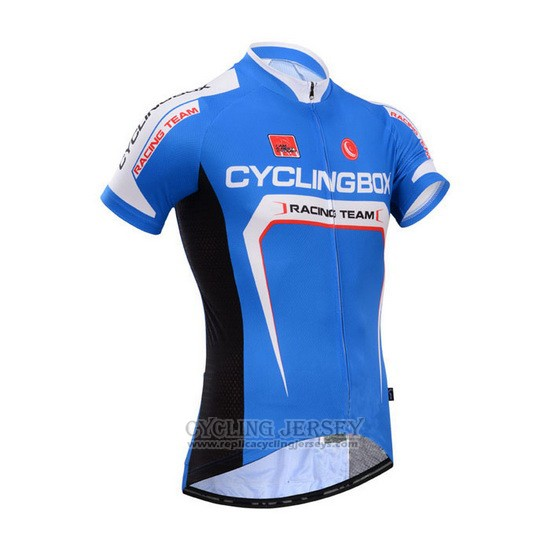 2014 Cycling Jersey Fox Cyclingbox Blue and White Short Sleeve and Bib Short