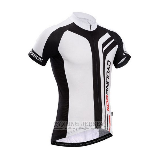 2014 Cycling Jersey Fox Cyclingbox Bright Black and White Short Sleeve and Bib Short