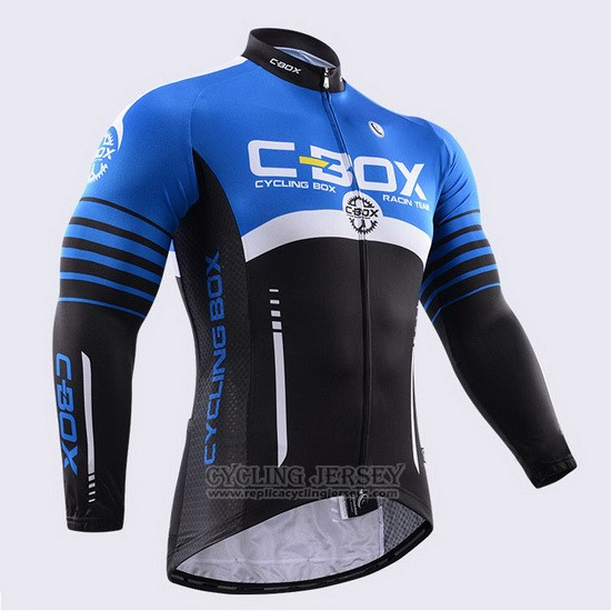 2015 Cycling Jersey Fox Cyclingbox Black and Blue Long Sleeve and Bib Tight